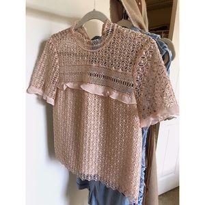Zara Blush Lace Sheer Short Sleeved Top
